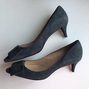 Talbots grey suede kitten heel with bow.  6.5M